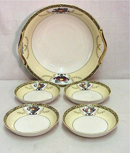 Noritake Porcelain Certified Mark Bowl and Four Servings