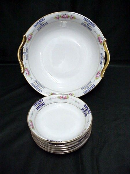 Nippon Porcelain Certified Mark Master Bowl and Six Servings