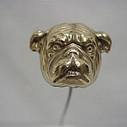 Hat Pin Bull Dog Gold Gilt Hatpin  $155