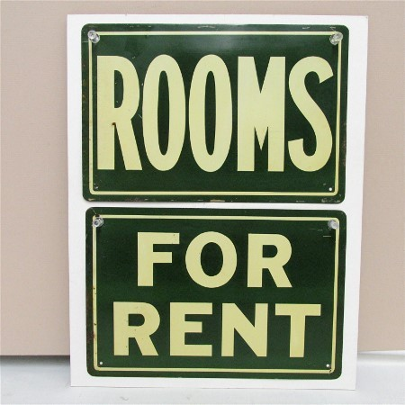 ROOMS and FOR RENT Two Advertising Signs