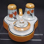 Condiment Set Lusterware Salt Pepper Mustard Spoon and Tray