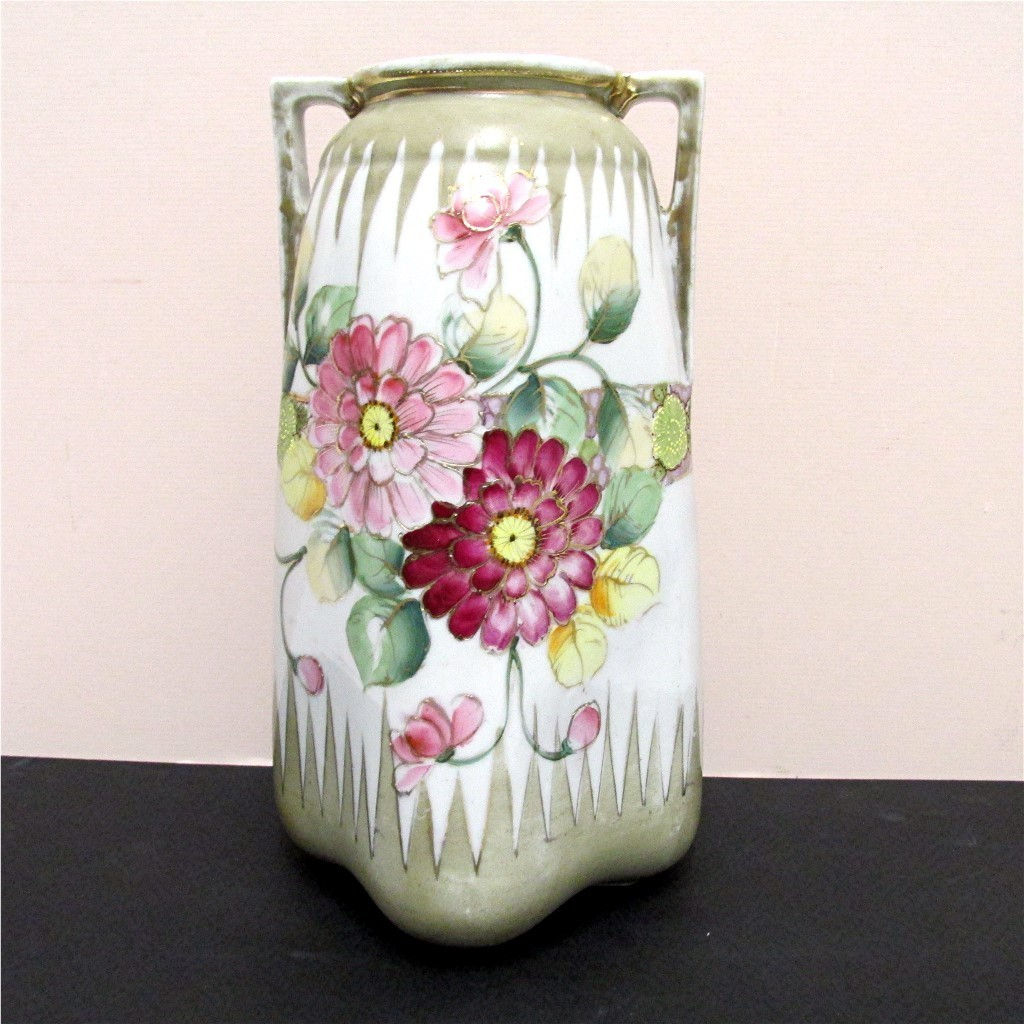 "Nippon Vase Certified Mark Hand Painted 10""  tall"