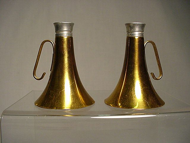 Salt and Pepper Set Brass Horn Shakers