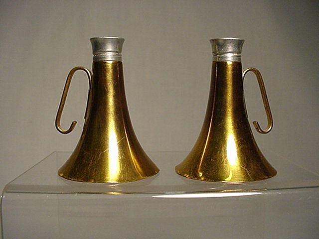 Salt and Pepper Set Brass Horn Shakers