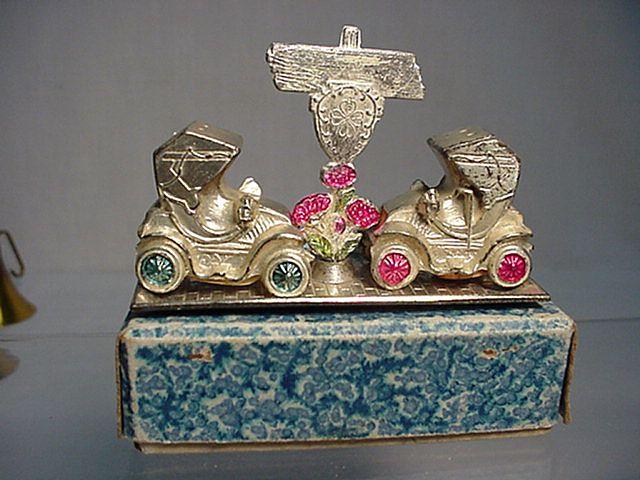 Metal Salt and Pepper Set in Original Box Model T Car Shakers