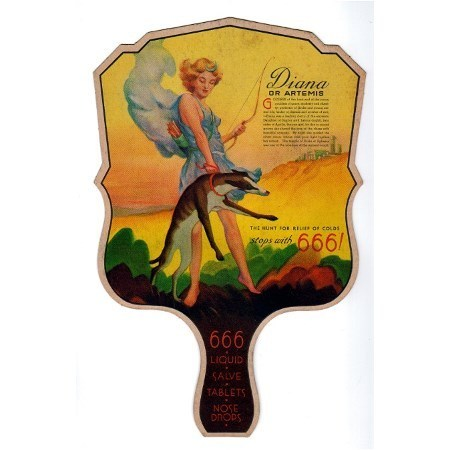Advertising Fan Art Deco Screen Featuring Diana or Artemis Promoting 666 Products
