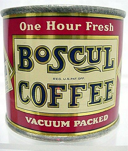 SOLD   See other Banks and Coffee tins available for sale Boscul Coffee Savings Bank Antique Advertising Tin Mint Condition