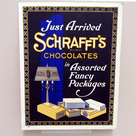 Schrafft's Chocolates Double Sided Candy Advertising Sign