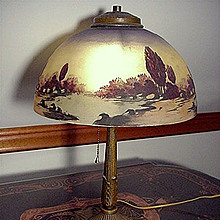 Antique Lamp Pittsburgh with Reverse Painted Shade Table Lamp