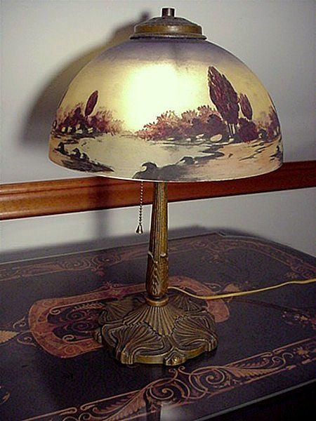Antique Lamp Pittsburgh with Reverse Painted Shade