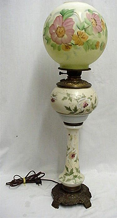 Antique American Glass Banquet Lamp