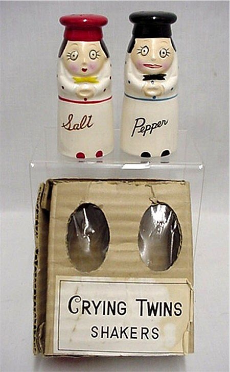 SOLD     Salt and Pepper Set Crying Twins Shakers in Original Box