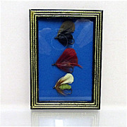 Set of Three Fly Fishing Flies Framed