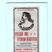 Pharmacy Bottle Labels Dr. Sloans Liniment and Premos Eyelash and Eyebrow Beautifier