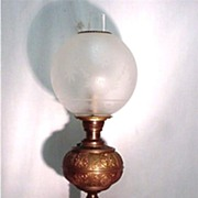 Antique Table Light Banquet Lamp in Brass with Frosted and Etched Globe Table Lamp $295 SALE PRICE