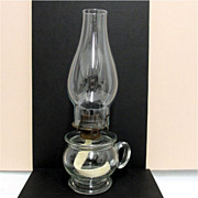 Kerosene Finger Lamp 1870 Antique American Glass