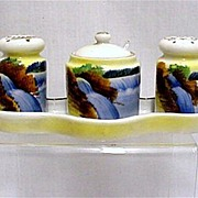 Porcelain Condiment Set Salt Pepper Mustard Spoon and Tray    ***Selling at Cost