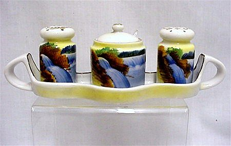 Porcelain Condiment Set Salt Pepper Mustard Spoon and Tray