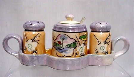 Lusterware Porcelain Condiment Set    ***Selling at Cost