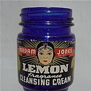 Sold Cobalt Jar Madam Jones Lemon Cleansing Cream