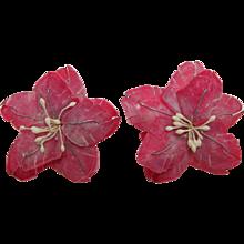 Earrings Feather Flowers Screw Back