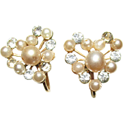 Earrings Heart Shaped Set with Faux Pearl and Brilliance