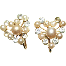 SOLD   See other Earrings for SALE   Earrings Heart Shaped Set with Faux Pearl and Brilliance