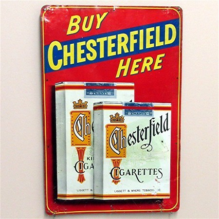 Chesterfield Cigarette Tin Advertising Sign 50% OFF