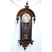 Restored Antique American Wall Clock  Circa 1875
