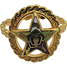Ring Enameled Five Point Star