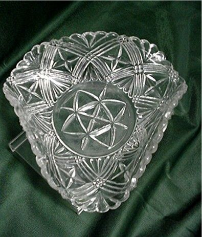 Glass American Pressed Trefold Dish