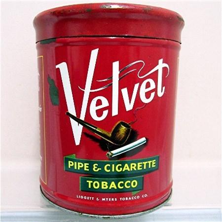 Velvet Humidor Pipe & Cigarette Tobacco Advertising Tin