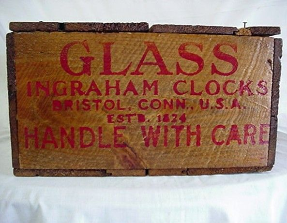 Ingraham Clock Glass Wood Box