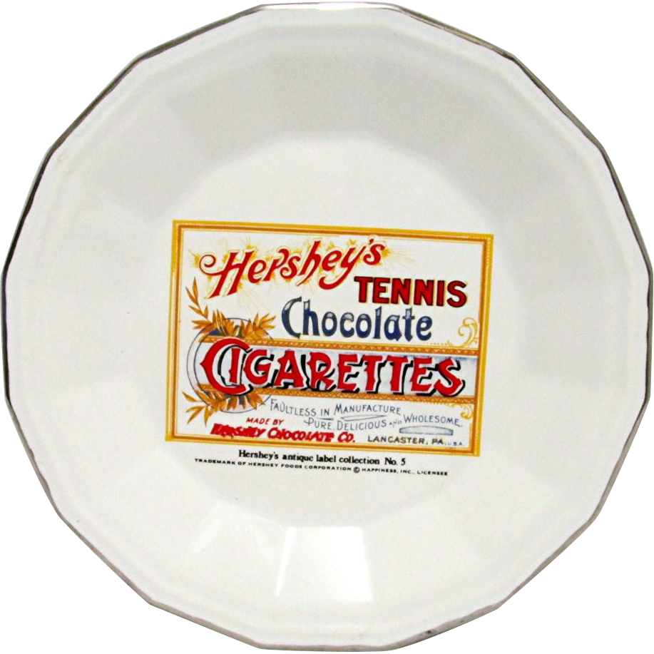 SOLD    Candy Advertising Hershey Tennis Chocolate Cigarettes Porcelain Advertising Plate