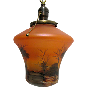 SOLD   Pendant Light Hand Painted Glass Ceiling Light Fixture Single Drop