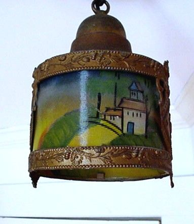 SOLD    Hand Painted Antique Hanging Lamp $295