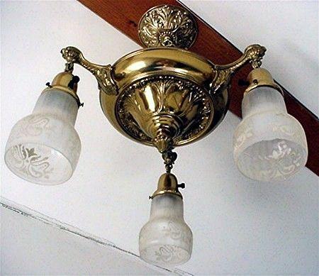 Chandelier Hanging Ceiling Fixture with 3 Drop Lights Victorian $449