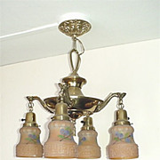 Antique American Ceiling Light With Four Original Light Shades Chandelier