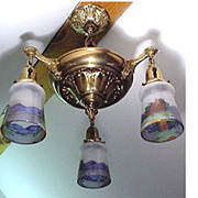 Antique Chandelier with Three Drop Lights with Hand Painted Shades  $495