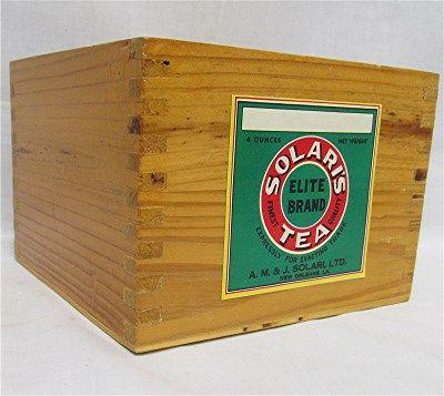 Solaris Tea Caddy  Wood  Advertising  Box   $49