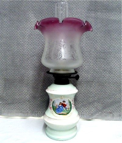 Porcelain Base Oil Lamp With Chimney And Shade Antique