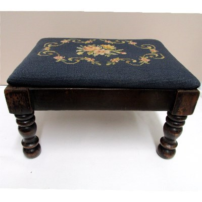 Antique Footstool Needlepoint Covered Foot Stool Sold On