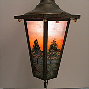 Ceiling Light Or Pendant Light Framed Six Panel Hand Painted Fixture