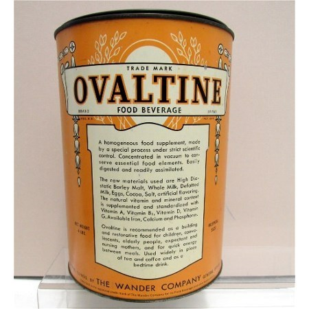 SOLD   See smaller size available   Ovaltine  Food Beverage 4 Pound Hospital Size Tin