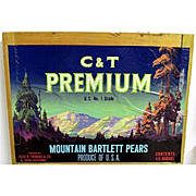 C & T Premium Pears Wood Advertising Sign 50+% OFF
