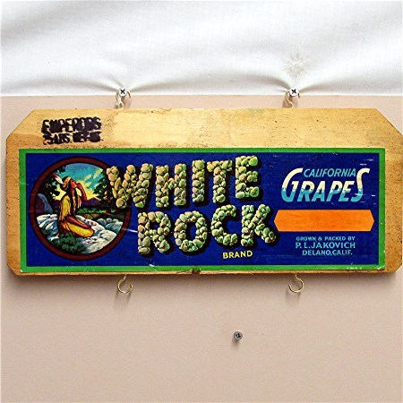 White Rock California Grapes Wood Advertising Sign 50% OFF