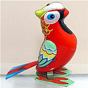 Parrot Tin Toy Key Wind Working