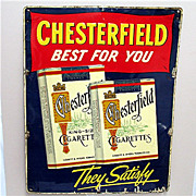 SOLD    See other Signs we have listed  Large Chesterfield Tin Advertising  Sign