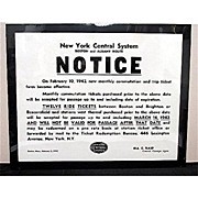 New York Central System Railroad Boston & Albany Route  1942 Notice Poster