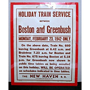 Advertising Sign For New Haven Railroad Train Service 50% OFF